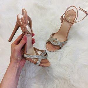 Nude Gloss Rhinestone Sparkle High Heels | 10